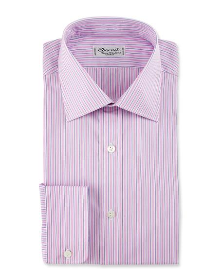 Striped Cotton Dress Shirt, Pink/Purple