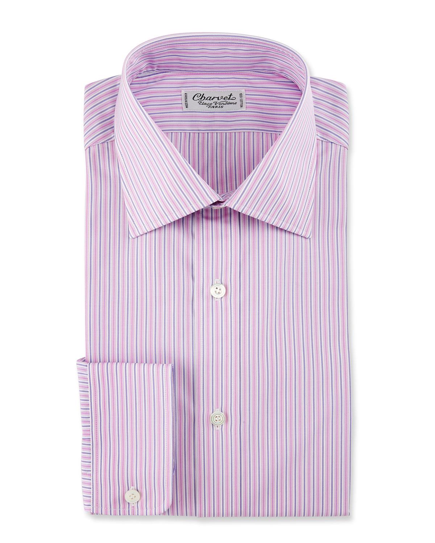 Charvet Striped Cotton Dress Shirt Pinkpurple Neiman Marcus