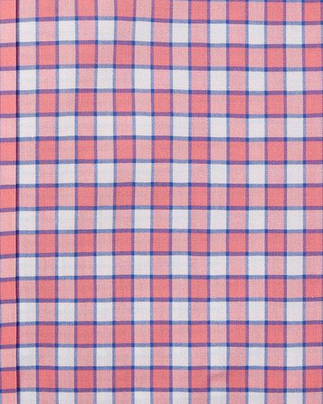 Check Cotton Dress Shirt, Red/Blue