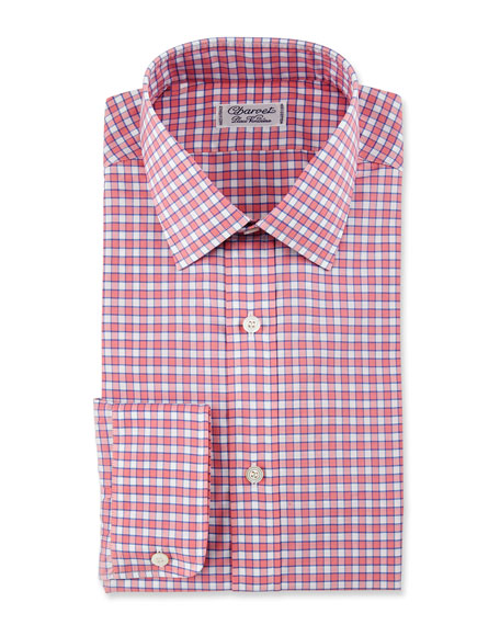 Check Cotton Dress Shirt, Red/Blue