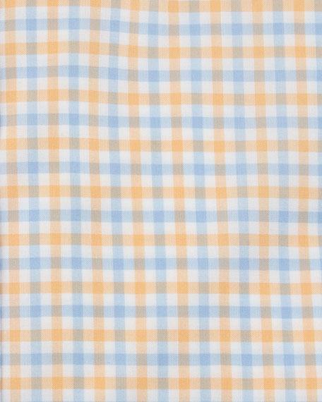 Gingham Cotton Dress Shirt, Yellow/Blue