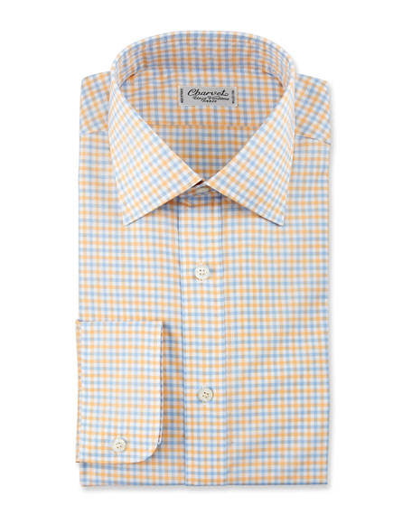Gingham Cotton Dress Shirt, Yellow/Blue
