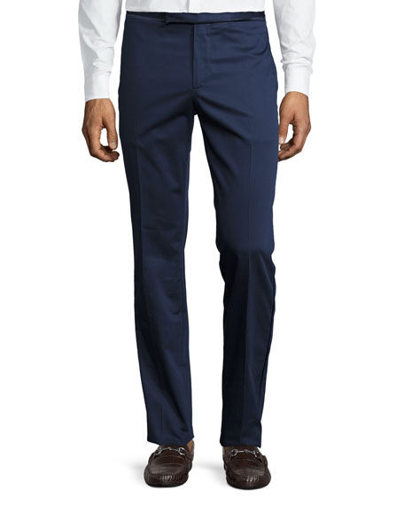 Etro Satin-Trim Flat-Front Trousers, Navy