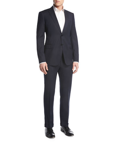 Tonal Box Check Two-Piece Suit, Navy