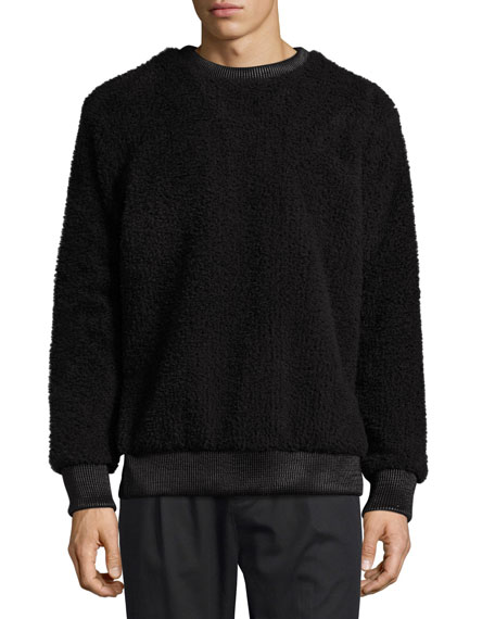 Helmut Lang Faux-Sherpa Crew Neck Sweater w/Leather Trim