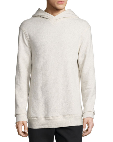 Textured Pullover Hoodie, Light Heather Gray