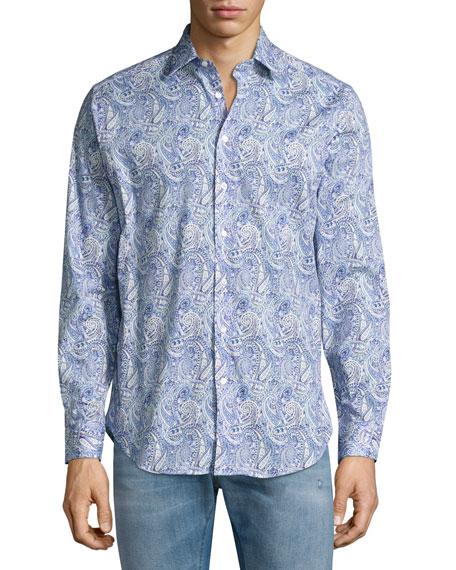 Etro Allover Paisley Printed Sport Shirt, Blue