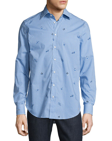 Etro Sea Creature Gingham Sport Shirt, Blue