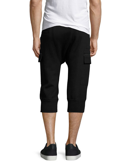Cropped Cargo Track Pants, Black