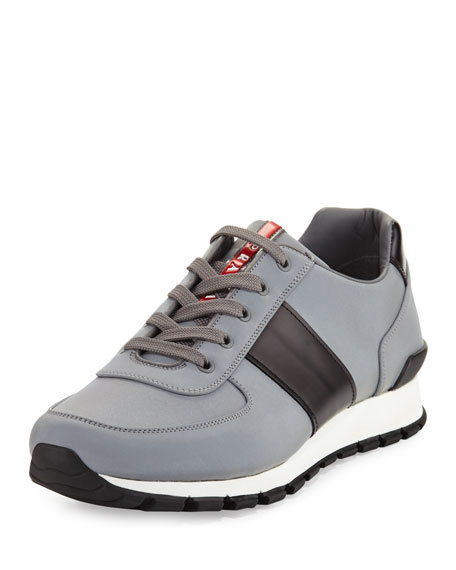 Prada Reflective Textile & Leather Trainer Sneaker, Silver/Black