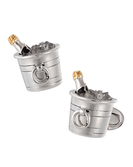 Sterling Silver & Crystal Quartz Champagne Bucket Cuff Links