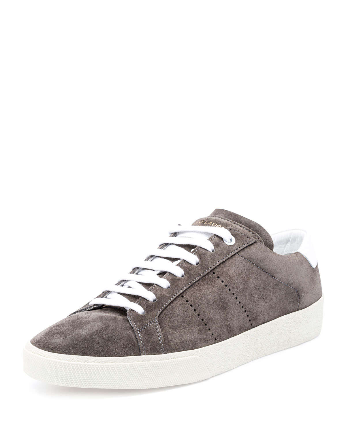 2928bb875ab Saint Laurent Men's SL/06 Suede Low-Top Sneakers, Gray | Neiman Marcus