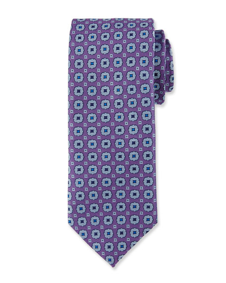Canali Woven Medallion Silk Tie, Purple