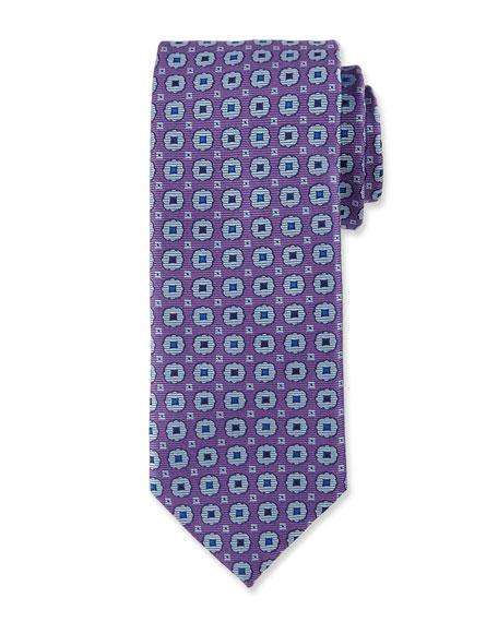 Canali Woven Medallion Silk Tie, Purple