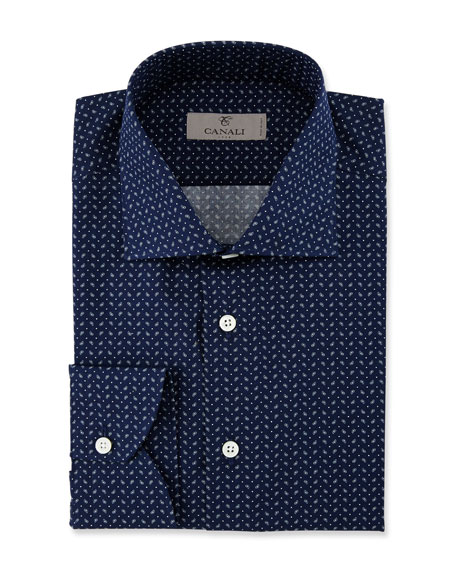 Modern Fit Pine-Print Dress Shirt, Navy