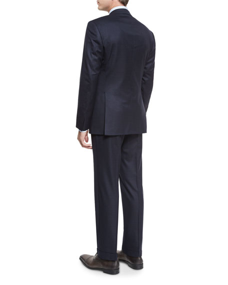 Box-Check Super 150s Wool Two-Piece Suit, Navy