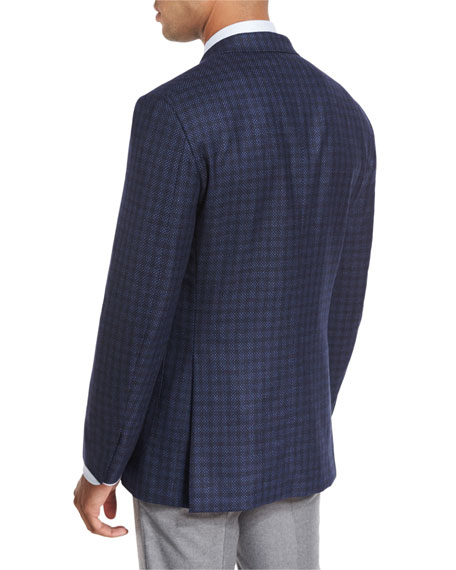 Tonal Box-Check Sport Coat, Navy