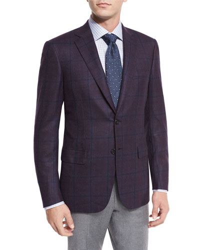 Plaid Two-Button Sport Coat, Burgundy/Navy