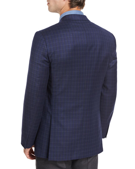 Tonal Check Sport Coat, Navy