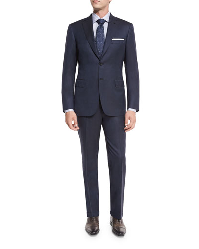 Narrow-Stripe Wool Two-Piece Suit, Navy