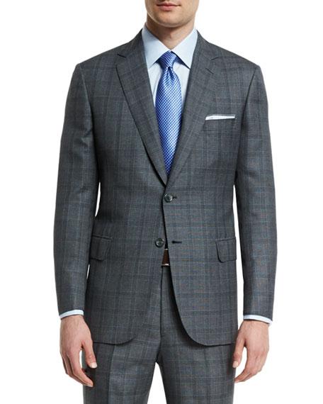 Brioni Birdseye Plaid Two-Button Wool Suit, Gray