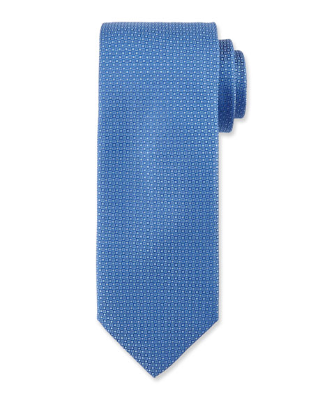 Micro-Neat Silk Tie, Light Blue