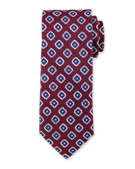 Fancy Diamond Silk Tie, Red
