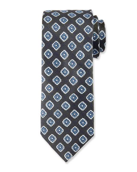 Fancy Diamond Silk Tie, Green
