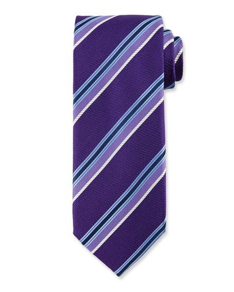 Multi-Stripe Silk Tie, Purple