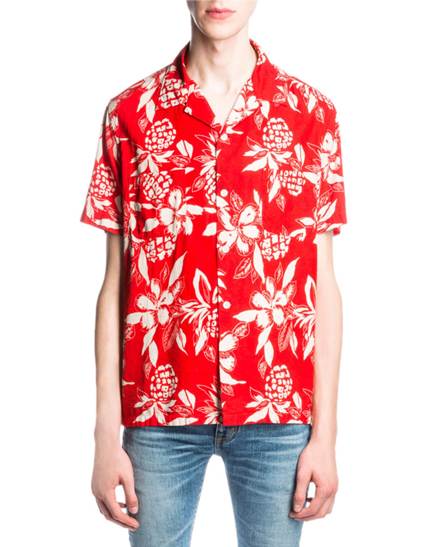 e83db089 Saint Laurent Hibiscus-Print Hawaiian Shirt, Red   Neiman Marcus