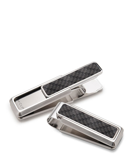 Stainless Steel & Carbon Money Clip, Black