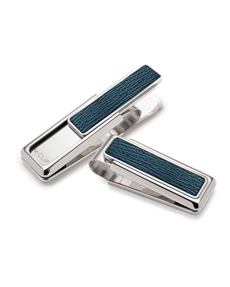 Shagreen Money Clip, Dark Blue