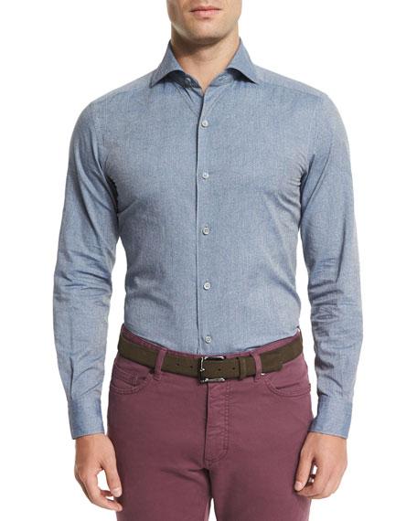 Tonal Paisley-Print Chambray Sport Shirt, Blue