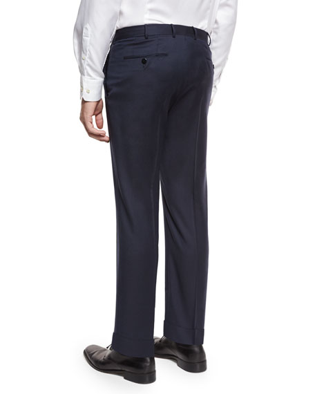 Twill Trofeo Wool Flat-Front Trousers, Navy