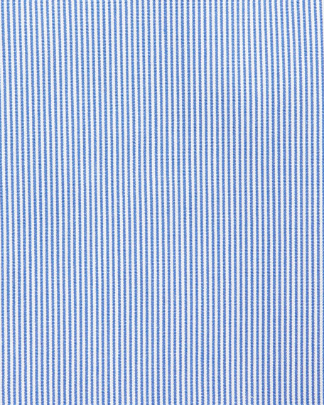 Slim-Fit Micro-Stripe Travel Dress Shirt, Blue/White