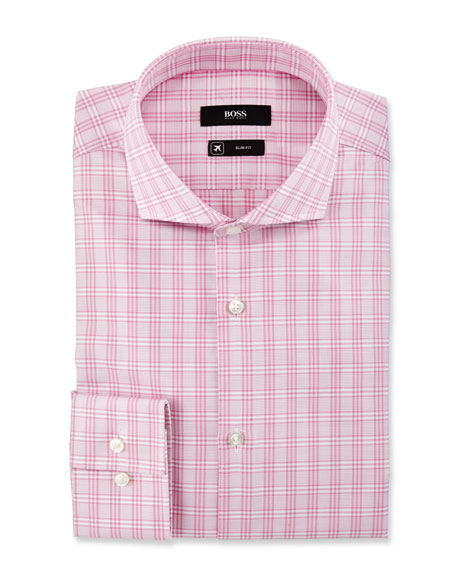 BOSS Active Traveler Slim-Fit Plaid Dress Shirt, Pink