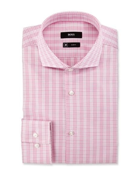 BOSS Active Traveler Slim-Fit Plaid Dress Shirt, Pink