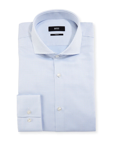 BOSS Micro-Check Slim-Fit Dress Shirt, Light Blue