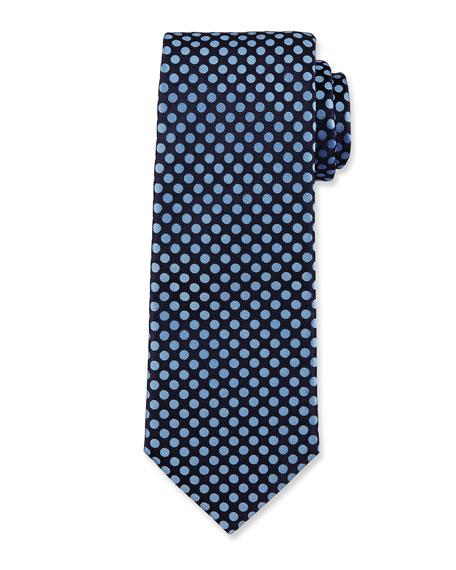 Woven Dot Silk Tie, Navy