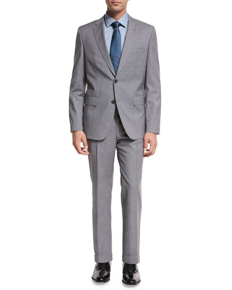 BOSS Plaid Wool Two-Piece Suit, Light Gray