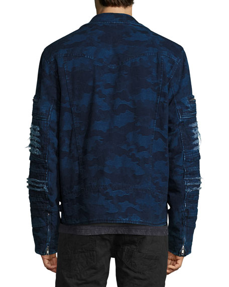 Distressed Camo Moto Jacket, Indigo