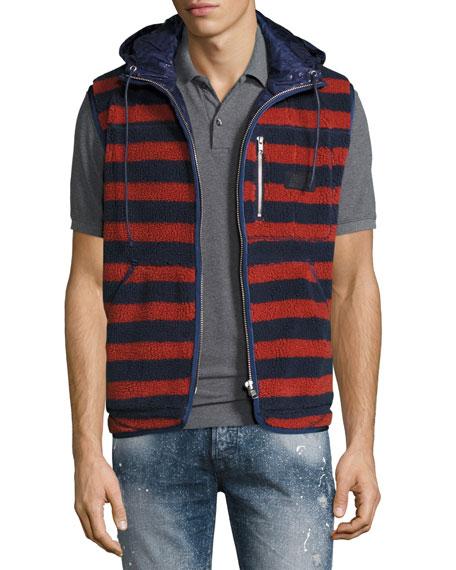PRPS Sherpa Striped Vest w/Hood, Indigo