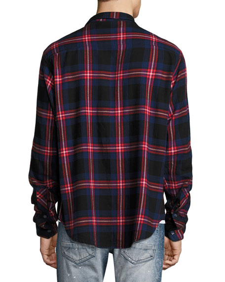 Flannel Plaid Shirt, Red/Navy/White