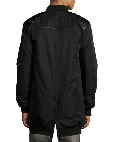 Elongated Bomber Jacket w/Leather Trim, Black