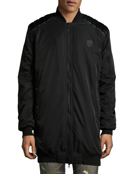 Elongated Bomber Jacket w/Leather Trim, Black