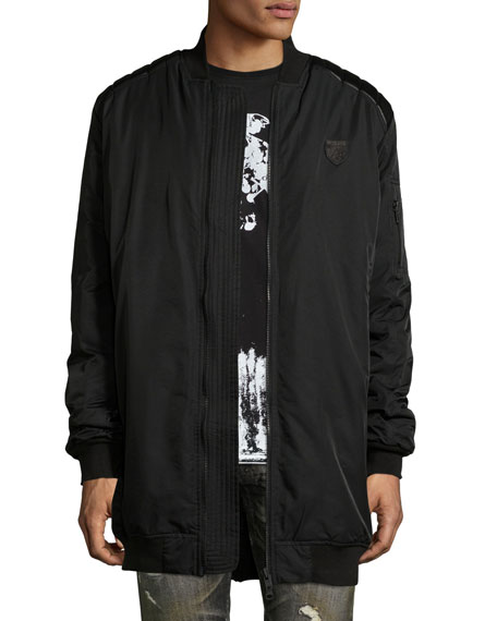 PRPS Elongated Bomber Jacket w/Leather Trim, Black