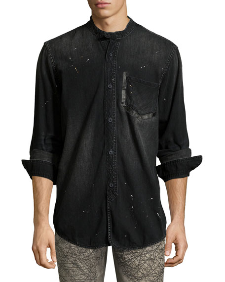 PRPS Washed Denim Mandarin-Collar Shirt, Black