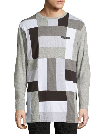 Paneled-Jersey Long-Sleeve T-Shirt, Gray