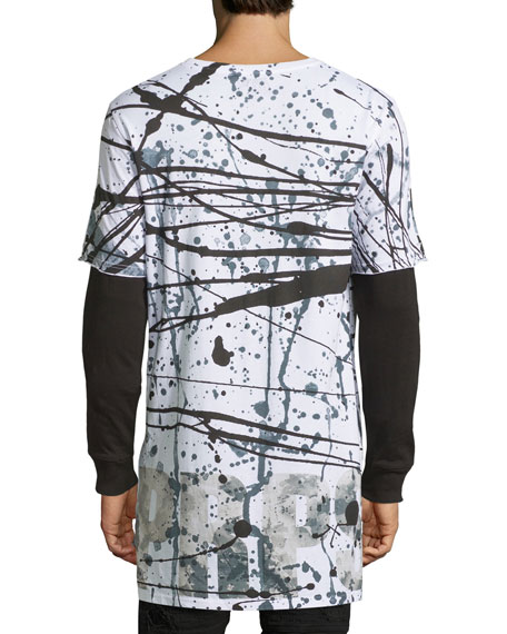 Splatter-Print Long-Sleeve T-Shirt, White/Black