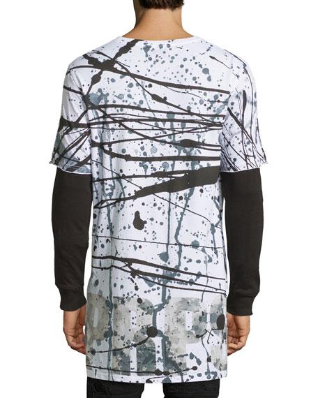 Splatter-Print Long-Sleeve T-Shirt, White/Black